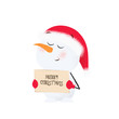 Cute snowman holding banner with merry Christmas inscription. Wish, cartoon, celebration. New Year concept. Can be used for greeting cards, posters, leaflets and brochure