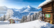 Leinwanddruck Bild - Winter wonderland with mountain chalets in the Alps
