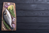 Raw dorado fish and ingridient for cooking - 228176518