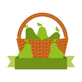 wicker basket with fresh pear - 228181735