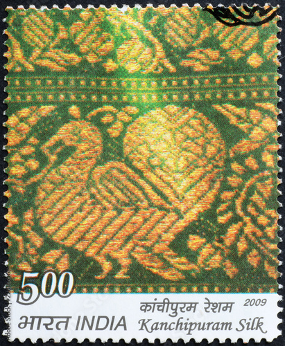 Elaborate Indian Fabric On Postage Stamp