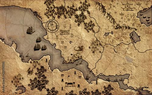 Old vintage fantasy map   © Yurii Andreichyn