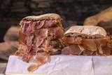 Display of smoked cured sandwich of ham