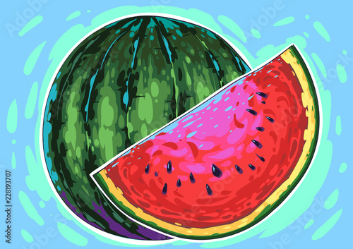 Watermelon comic vector art. Berry colorful creative gogh style smears, colorful pastel fantastic palette. modern trendy illustration. Juice effects fruit. - 228193707