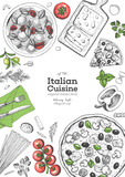 Italian cuisine top view frame. A set of Italian dishes with pasta and pizza. Food menu design template. Vintage hand drawn sketch vector illustration. Engraved image - 228194191