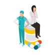 female doctor and surgeon bottle medicine pills