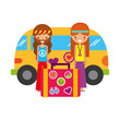 hippie couple with suitcase van car vintage