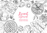 French cuisine top view frame. A set of classic French dishes with bakery, poached eggs, pissaladier, ratatouille, oysters, cheese. Food menu design template. Hand drawn sketch vector illustration. - 228204399