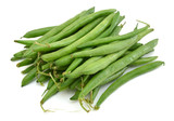 small and slender green beans (haricot vert) on a white background - 228208792