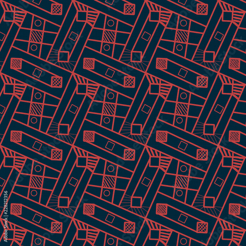 red geometric repeating pattern  over  background. futuristic design for architectural, industrious, textile, fabric and elegant surface designs © Princess Designs