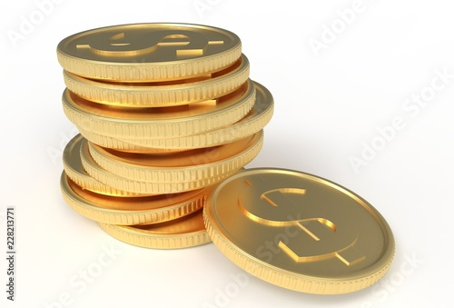 3d illustration, gold coins in a stack.