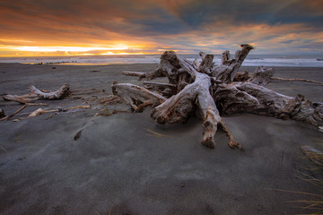 dramatic sunset  sky  hokitika beach southland new zealand