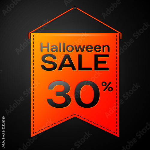 Realistic Orange Pennant With Inscription Halloween Sale Thirty