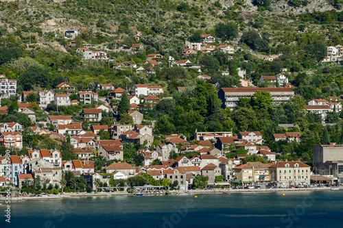 Fridge magnet view of the town in montenegro, digital photo picture as a background
