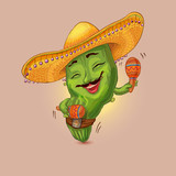 Cool cactus character dancing with maracas in sombrero hat. Siesta time illustration suitable for festival of Mexican cuisine - 228235720