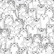 tigers and cats cartoon seamless pattern