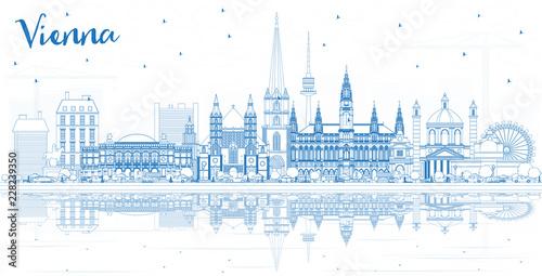 Zarys Wiednia Austria City Skyline z Blue budynków i refleksji.