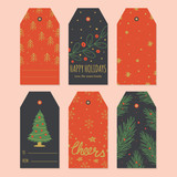 Set of trendy Christmas gift tags in Vector - 228239528