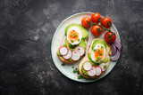 Healthy breakfast, Toasts with avocado, egg, radish, sweet onions and tomatoes, Diet food, On a darkbackground, Selective focus, Copy space, Top view - 228242765