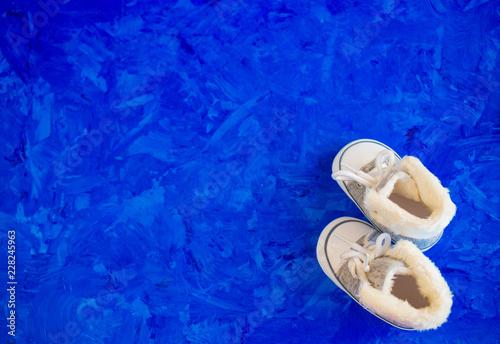 Leinwandbild Motiv baby booties for little boy