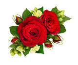 Floral composition with red roses and bouvardia flowers