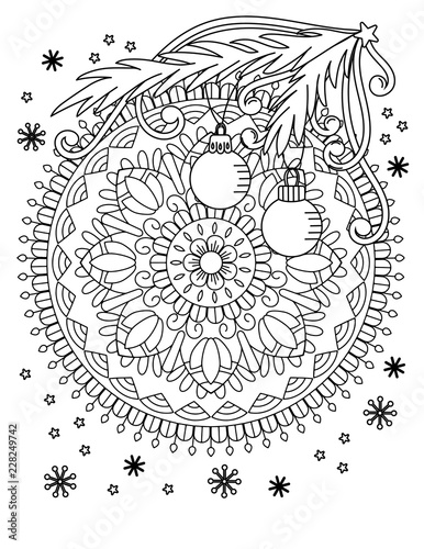 christmas mandala coloring page adult coloring book holiday decore balls and snowflake