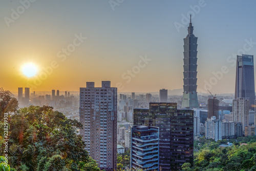 Panoramic view of the Taipei's city center during the sunset. © Suradech