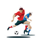 6942873 Players are fighting for the ball. Vector Illustration