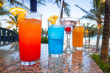 Tropical drinks at the caribbean beach of Mexico - 228280769
