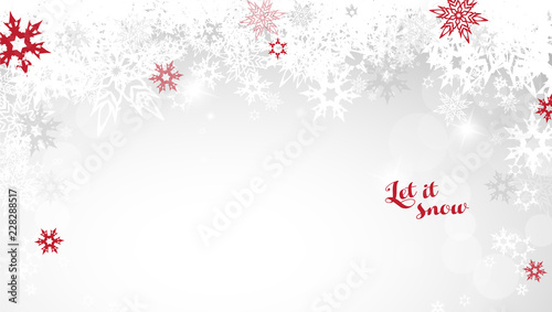 Sticker Christmas light vector background illustration with snowflakes and red Let it snow text