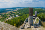The ancient castle of Poland. View from the high tower to the watchtower on a sunny summer day.