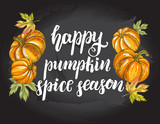 Season Background. Greeting card with Ink hand drawn pumpkins. Autumn harvest elements composition with brush calligraphy style lettering. Vector illustration. - 228299749