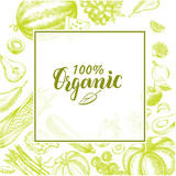 Background with Ink hand drawn various vegetables and fruits. Healthy vegetarian  food elements composition with brush calligraphy style lettering. Vector illustration. - 228299981