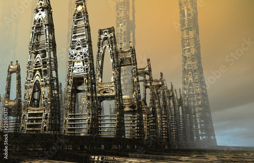 Abstract sci-fi city - 228301317