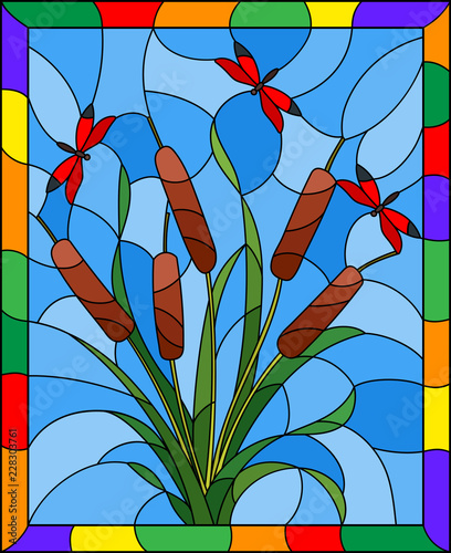 illustration-in-stained-glass-style-with-bouquet-of-bulrush-and-red-dragonflies-on-a-sky-background-in-bright-frame