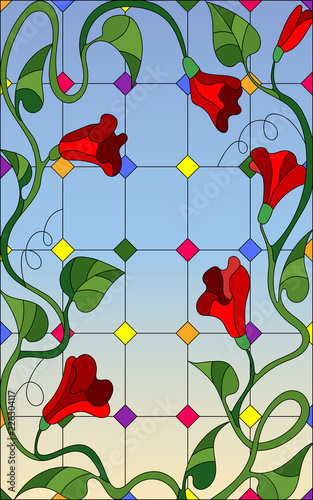 illustration-in-stained-glass-style-with-red-intertwined-flowers-and-leaves-on-window-and-sky-background