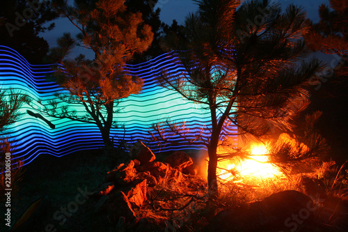 Foto Murales Abstract Light Painting with Camp Fire