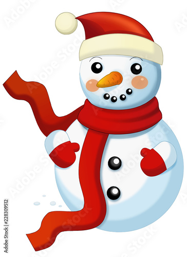 Happy cartoon snowmen - smiling and watching - isolated on white background - vector illustration for children - 228309512