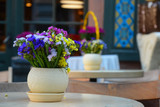 Decorative composition of multicolored wildflowers in vase on the table of street cafe. - 228310761