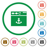 Browser anchor flat icons with outlines