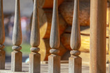 Wooden railing on the stairs as a background