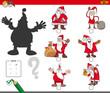 shadows game with cartoon Christmas Santa characters