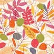 Seamless leaves pattern. Autumn vector illustration