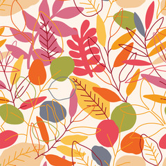 Seamless leaves pattern. Autumn vector illustration