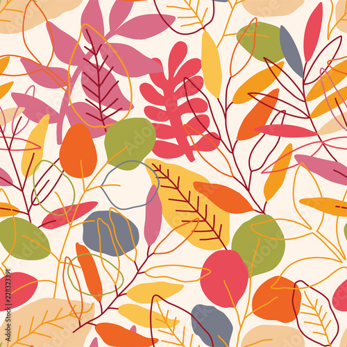 Seamless leaves pattern. Autumn vector illustration © maria_galybina