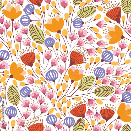 Elegant seamless pattern with flowers - 228323560