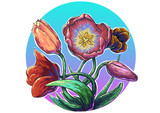 Tulips flowers vector bouquet colorful  creative comic art gogh style color smears modern fresh picturesque, painting botanic