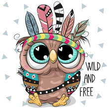 Cute Cartoon Tribal Owl  Feathers Sticker