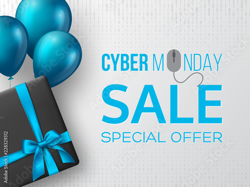 Cyber monday sale poster or banner for seasonal discounts. Black box with realistic silk blue bow and balloons on code background. Sale concept. Vector illustration.
