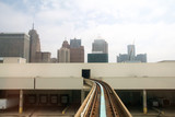 DETROIT, MICHIGAN, UNITED STATES - MAY 22nd, 2018: Riding the 'Detroit People Mover' Tramway in Detroit Downtown. The elevated monorail is one of many public modes of transportation in the city